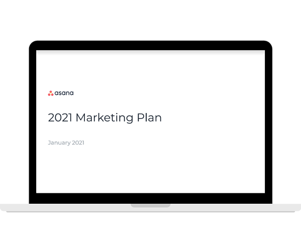 Asana - Free Marketing Plan Template - Laptop Landscape