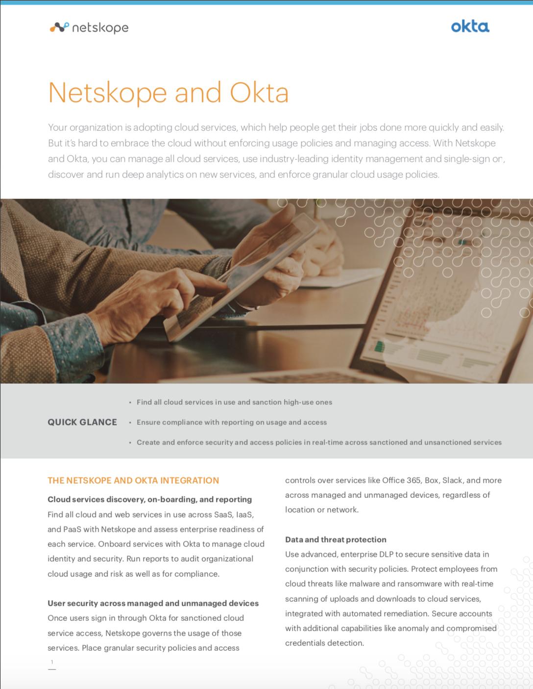 Netskope and Okta Solution Brief Thumbnail