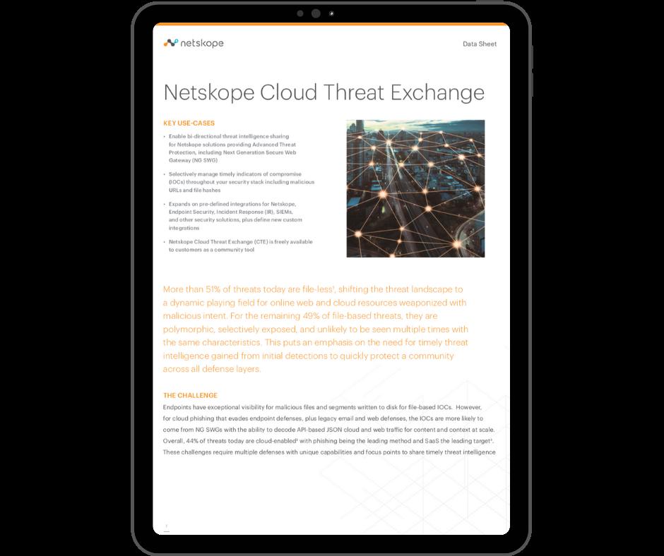 Netskope Cloud Threat Exchange - Transparent - Ipad Portrait