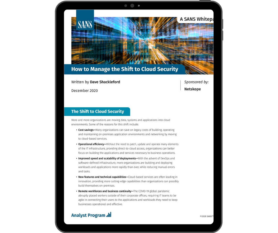 Netskope How to Manage the Shift to Cloud Security - Transparent - Ipad Portrait