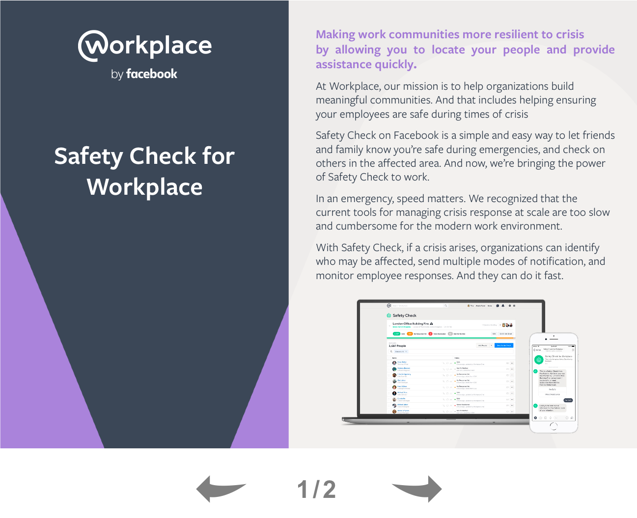 Safety Check for Workplace by Facebook