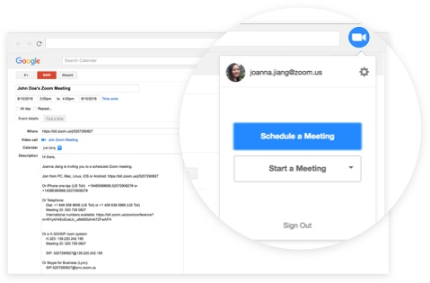 Scheduling meetings with Zoom