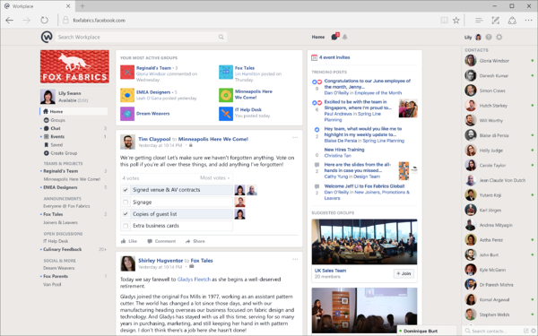 Workplace by Facebook newsfeed on desktop browser