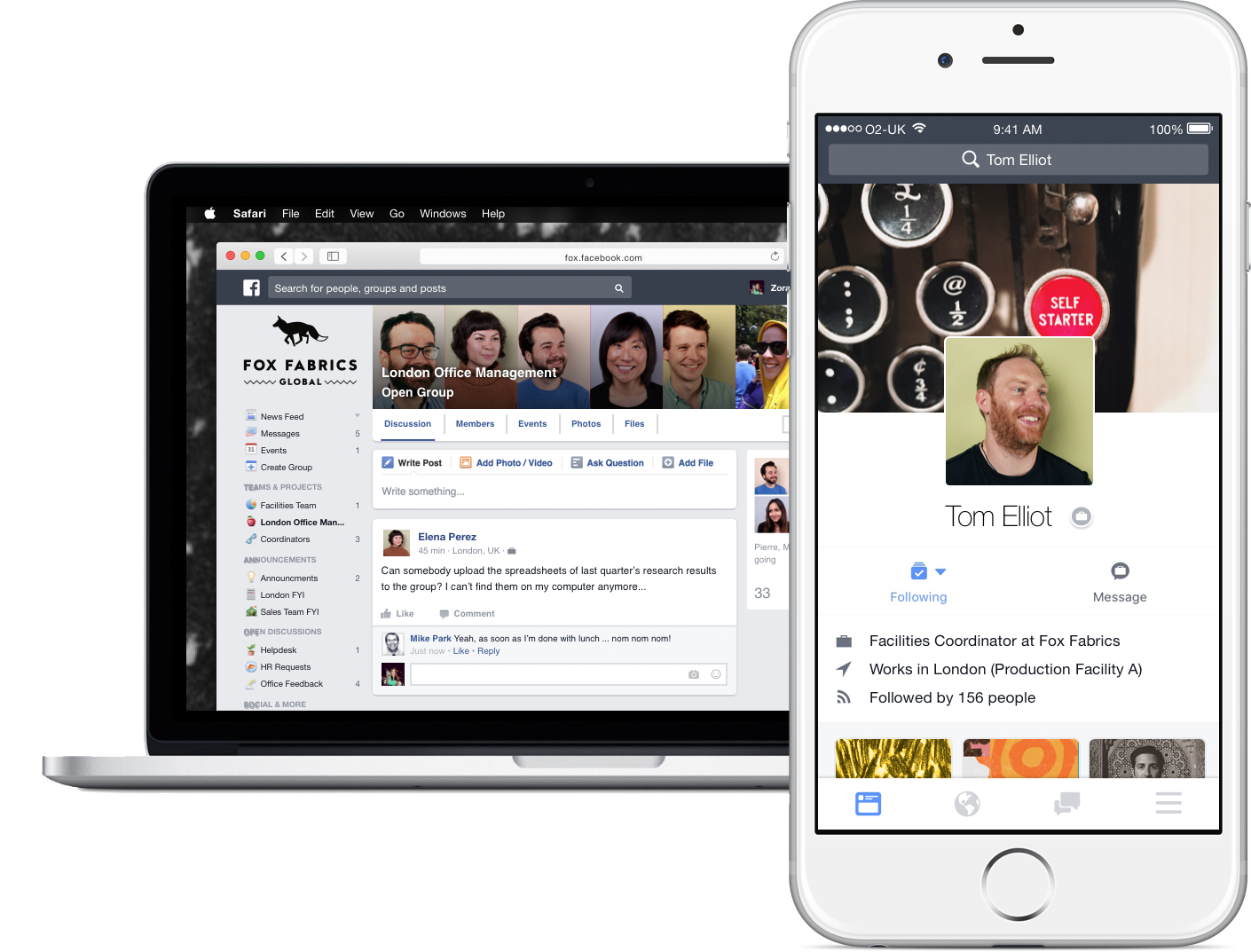 Workplace by Facebook desktop and mobile