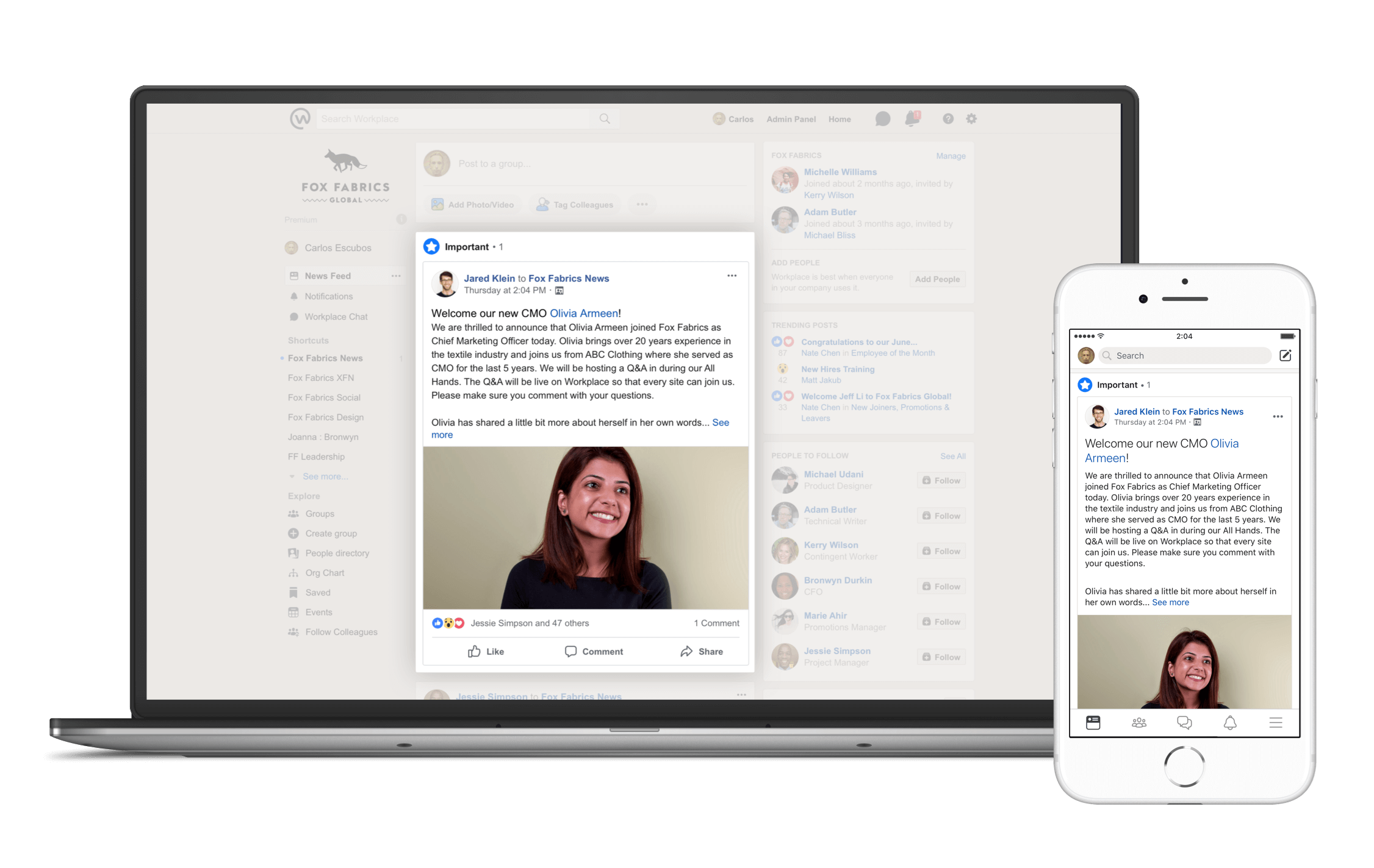 Workplace by Facebook - mark as important feature