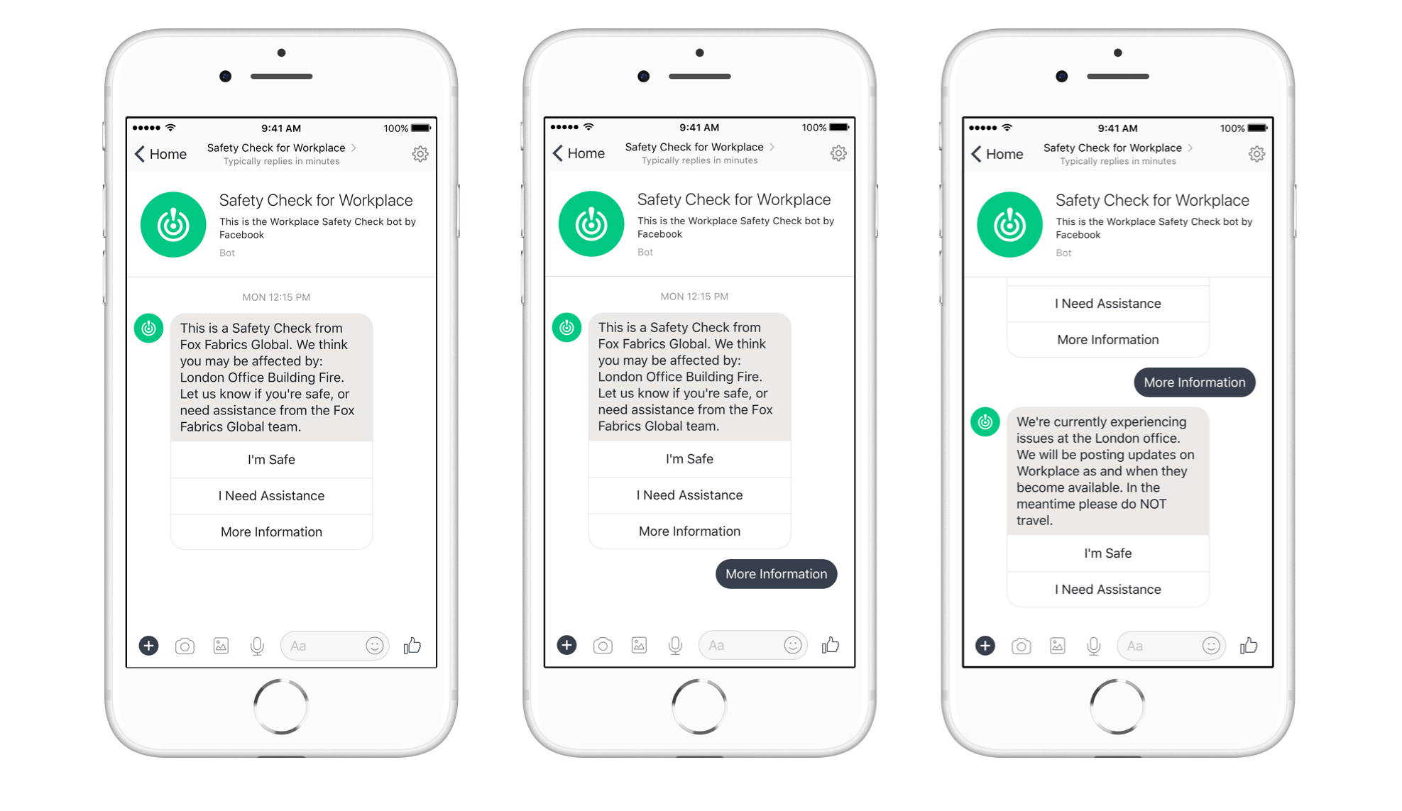 Workplace safety check chatbot