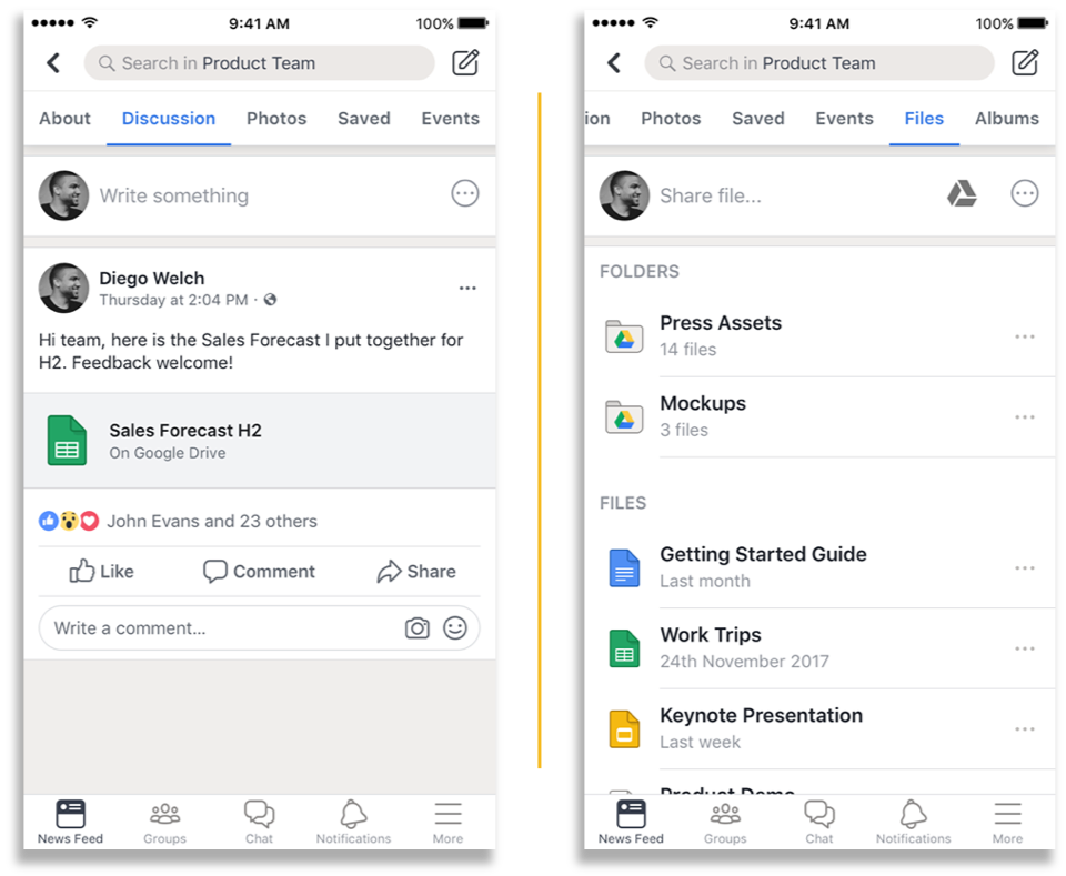Workplace by Facebook and Google Drive integration