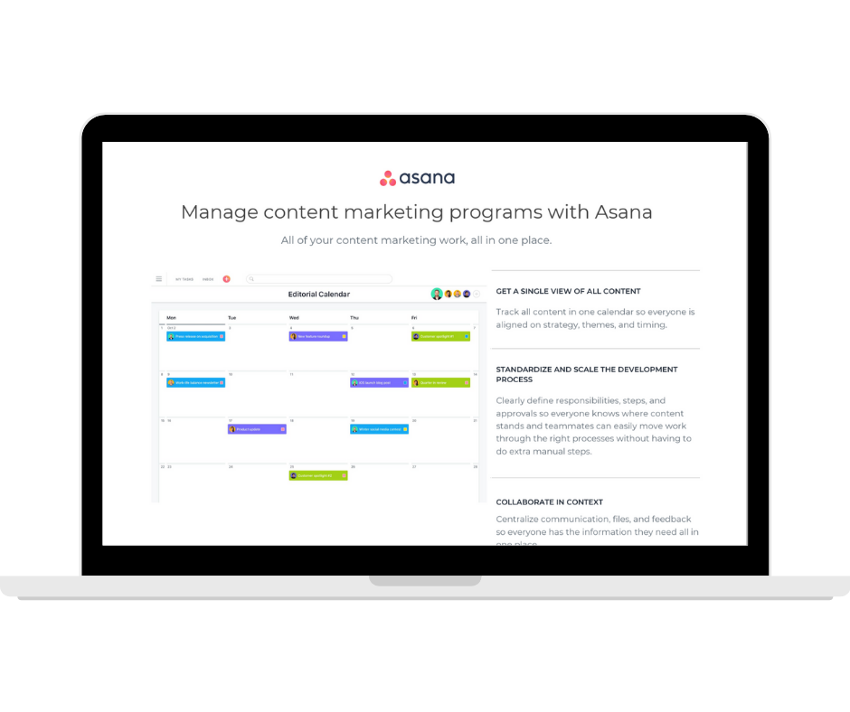 Asana  Manage Content Marketing Programmes - Transparent - Laptop Landscape (1)
