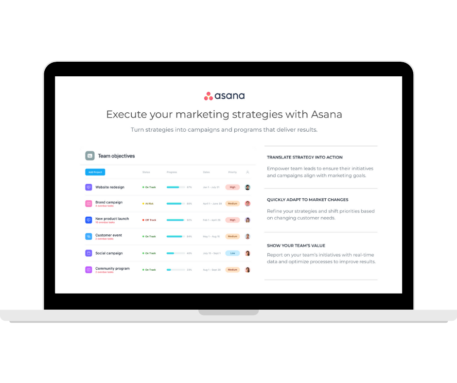 Asana - Marketing Strategies -Transparent - Laptop Landscape