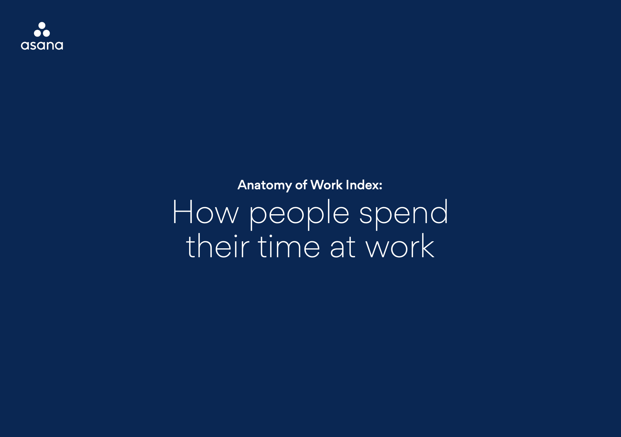 Asana - Anatomy of Work - How people spend their time at work report - Cover