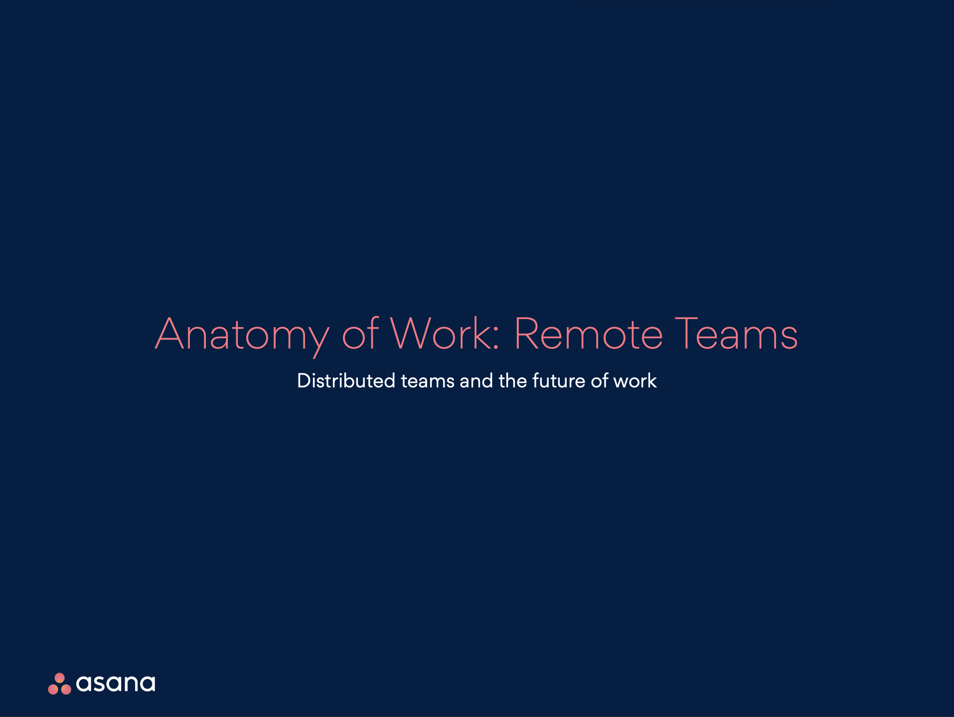 Asana - Anatomy of Work - Remote Teams report - Cover