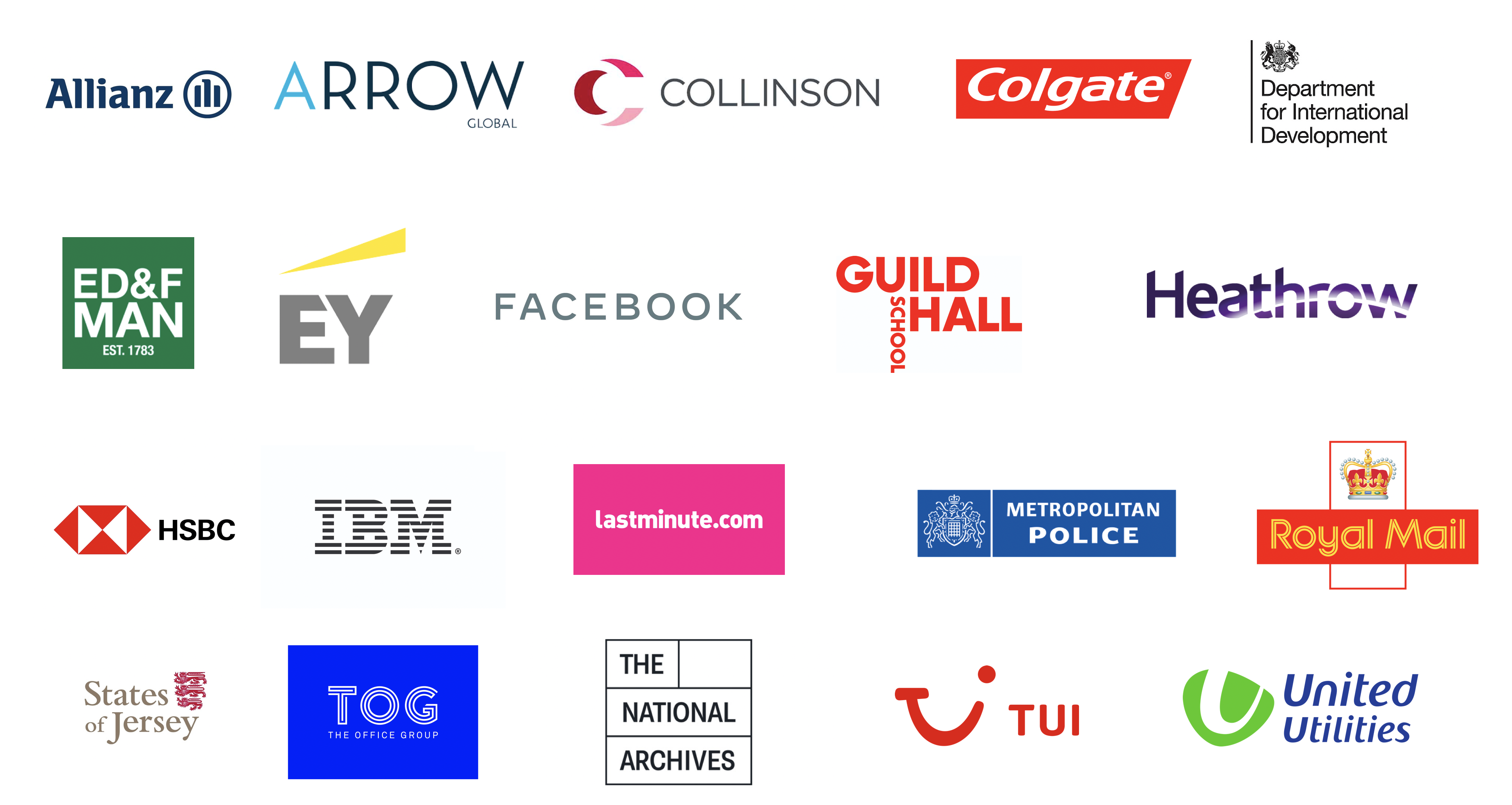 Generation Digital Clients - Arrow Global, Allianz, Collinson, Colgate, Department of International Development, ED&F Man, EY, Facebook, Heathrow, HSBC, IBM, Lastminute.com, Metropolitan Police, Royal Mail, Tui, United Utilities