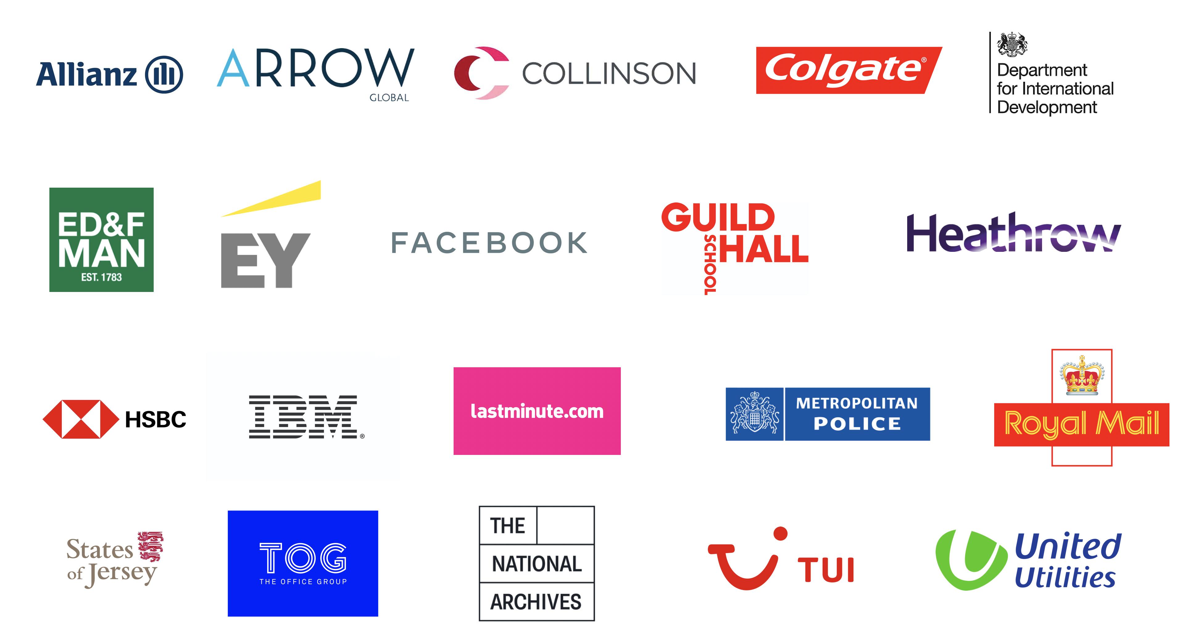 Generation Digital Clients - Arrow Global, Allianz, Collinson, Colgate, Department of International Development, ED&F Man, EY, Facebook, Heathrow, HSBC, IBM, Lastminute.com, Metropolitan Police, Royal Mail, Tui, United Utilities