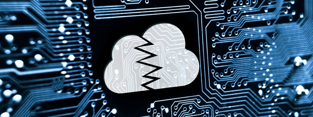 Circuit board with broken cloud icon on chipset